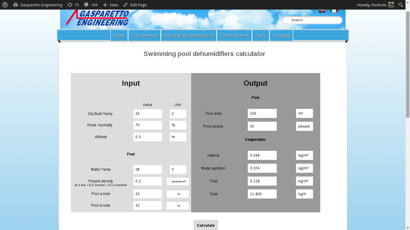 Swimming pool dehumidifier calculator | Gasparetto Engineering